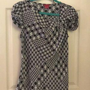 Black and white unique neckline blouse